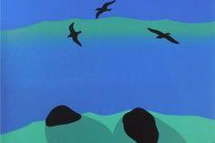 Three Dark Gulls, Three Dark Rocks by Michael Smither. Wall Art print from The Little Art Gallery, Tairua, Coromandel, NZ
