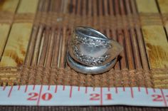Hand Hammered / Made Wide Silver Spoon Etched Ring Size 8 - 8.5  FSR4 #Handmade #vintagespoonring