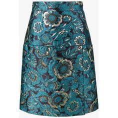 Dolce & Gabbana Brocade And Floral Print Skirt ($598) ❤ liked on Polyvore featuring skirts, blue, brocade skirt, high-waist skirt, floral skirt, knee length a line skirt and blue knee length skirt