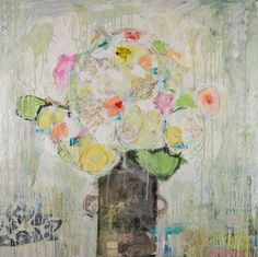 """Spring Whites"" 36x36 mixed media Available at Anne Irwin Fine Art 404-484-5657"