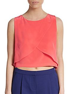 Rebecca Minkoff Malone Silk Cropped Top worn by Hanna Marin on Pretty Little Liars