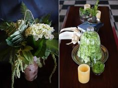 brown and green wedding flowers