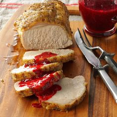 Pork Loin with Raspberry Sauce Recipe -Raspberries add rub red color and fruity sweetness to the sauce that enhances this savory pork roast. This is an easy way to transform everyday pork into a special-occasion main dish. —Florence Nurczyk, Toronto, Ohio