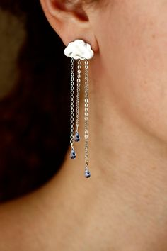 SUMMER RAIN silver long chain light blue drops by LakooDesigns