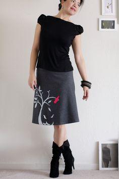 Handmade appliqué skirt . Charcoal Grey Knee by Zoeslollipop, $54.00