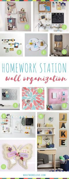 How to create a homework station for kids | Organization ideas including clever wall storage systems. Perfect for back to school!