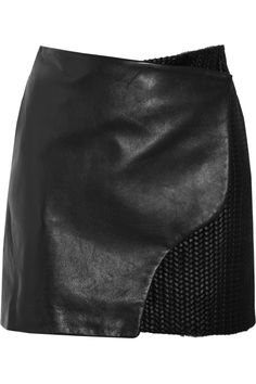 Maiyet | Leather and braided calf hair wrap skirt #style #black #fashion