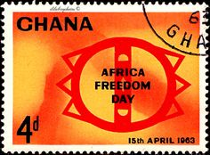 Ghana.  SYMBOLIC WOOD CARVING.  AFRICA FREEDOM DAY, April 15.  Scott  136 A43, Issued 1963 Apr 15,  Photo, 4. /ldb.