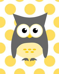 Owl on yellow dots nursery baby shower wall by curryonthecouch, €12.00