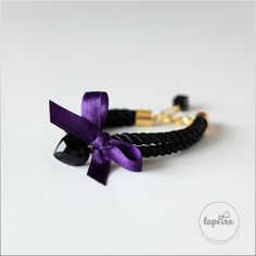 Cute bracelet from black rope, decorated with a purple ribbon and black onyx heart. Ribbon Bracelets, Cute Bracelets, Unique Jewelry, Jewelry Design, Black Rope, Purple Ribbon, Black Onyx, Statement Jewelry, Handmade Gifts