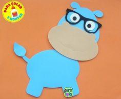 Hipopótamo com óculos EVA 40 cm - para colar e montar /POR UNIDADE