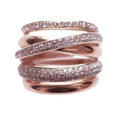 18K Rose Gold Pave Diamond Wrap Ring - Rings - Jewelry 18K Rose Gold Pave Diamond Wrap Ring found on Polyvore