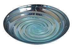 "13"" Swirl glass bowl from Three Hands."