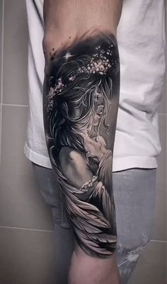 Incredible tattoo by Anastasiya - anja Angel Sleeve Tattoo, Realistic Tattoo Sleeve, Skull Sleeve Tattoos, Forearm Sleeve Tattoos, Best Sleeve Tattoos, Sleeve Tattoos For Women, Leg Tattoos, Tattoos For Guys, Angels Tattoo