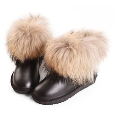 Women Black Leather Fur Flat Winter Dress Snow Booties SKU-143130
