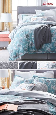 Looking for a bedroom refresh without the renovation price tag? New bedding with matching sheets is an instant upgrade. A floral comforter in soft aqua paired with coordinating shams and ruffled accent pillows puts the pretty in your comfort zone. Snuggle up with a fresh blanket and grab your favorite book!