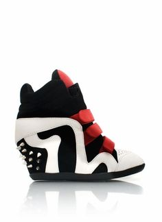 spiked velcro wedge sneakers