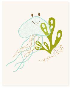 jellyfish  art print  nursery art for children by SeaUrchinStudio, $15.00