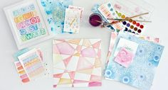 """Ben Franklin Crafts and Frame Shop, Monroe, WA: Cosmo Cricket """"Just Add Watercolor"""" Paper Watercolor On Wood, Watercolor Cards, Watercolor Ideas, Paper Art, Paper Crafts, Neat And Tangled, Diy Scrapbook, Scrapbooking Ideas, New Love"""