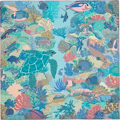 360f2a52b3a6 90 x 90 cm scarf Hermès   Under The Waves by Alice Shirley coll Automne