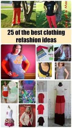 25 of the best and most ingenious clothing refashion ideas - for Clean out your Closet Week. Diy Clothes Refashion, Diy Clothing, Sewing Clothes, Jeans Refashion, Sewing Patterns Free, Free Sewing, Clothing Patterns, Rug Patterns, Do It Yourself Fashion