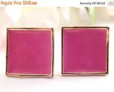 Pink Enamel Dusty Rose Post Earrings Mauve by SpringJewelryThings