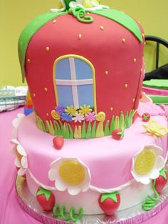 Dora and Strawberry Shortcake BFF Cake - Side View