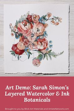"""🌺 Follow along as watercolor artist Sarah Simon, of TheMintGardener, demonstrates how layering washes and incorporating ink can encourage the feeling of joy in a botanical painting. Enjoy! Pictured here: """"A Gardener's Delight"""" (watercolor and ink on paper, 12×9) by Sarah Simon #BlickArtMaterials #TheMintGardener #WatercolorArtist #Watercolor #WatercolorPainting #ArtistsNetwork #ArtistsAtHeart #ArtIsLife #ArtLovers #Watercolor #WatercolorArtists Watercolor Painting Techniques, Watercolor Artists, Watercolor And Ink, Watercolor Paintings, Unique Paintings, Pen Sets, Medium Art, Layering, Art Photography"""
