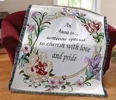 Special Aunt Floral Tapestry Throw Blanket