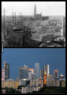 Warsaw 1945 vs 2013 Can you spot the church that survived? Poland Ww2, Warsaw Poland, Warsaw Uprising, Poland History, Poland Travel, The Beautiful Country, Historical Pictures, Krakow, Vacation Spots