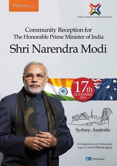 Indo-Australian Community Reception for  The Honorable Prime Minister of India  Shri Narendra Modi