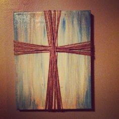 Canvas, paint, wood stain and jute :)