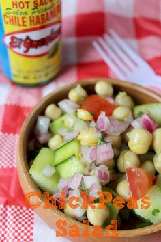 This chickpea salad is perfect for cookouts, picnics and outdoor gatherings...another option for a dressing is a little plain yogurt, some lemon or lime juice and maybe some dill or mint. Give it a more greek twist. Yum!