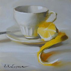 """Lemon Tea"" - Original Fine Art for Sale - © Elena Katsyura"