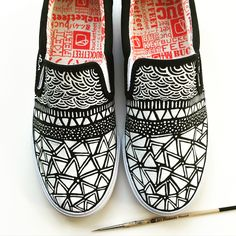 Earthy Layers Custom @bucketfeet shoes by Pom Graphic Design #bucketfeet #customshoes #handpainted #shoes #pomgraphicdesign
