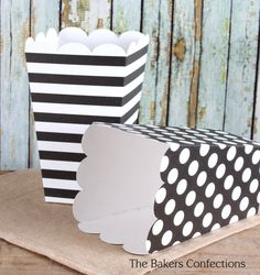 Black Popcorn Boxes in Dots and Stripes by thebakersconfections