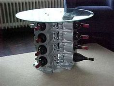 table/wine storage idea made from auto parts