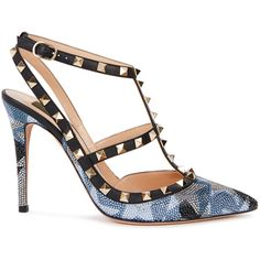 Valentino Rockstud 100 embellished leather pumps (€1.555) ❤ liked on Polyvore featuring shoes, pumps, black high heel shoes, black strappy pumps, black strap pumps, black leather pumps and blue pumps
