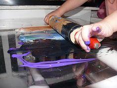 paint rolling on plexiglass