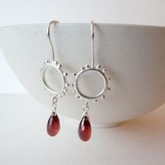 Small Sterling Silver Granulation Hooks With Semi Precious Gemstone Drops - garnet