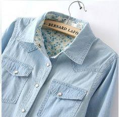 Envío Gratis 2014 Blusa de Las Mujeres Primavera Otoño Camisas Sport de Manga Larga Denim Jeans de Algodón Camisa Casual Mujeres Camiseta B 2026 en Blusas y Camisas de Ropa y Accesorios de las mujeres en AliExpress.com | Alibaba Group