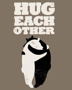 {hug each other}