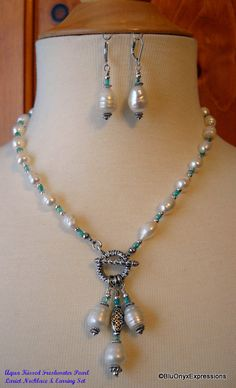 Freshwater Pearl & Aqua Seed Bead Lariat Necklace and Earring Set, Spring Celebrations, Jewelry, Wedding, Bride, Mother of the Bride. $65.00, via Etsy.