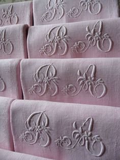 "8 ""ANTIQUE ROSE"" ANTIQUE FRENCH LINEN DAMASK NAPKINS HAND STITCHED MONOGRAM"