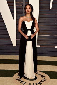 2015 Vanity Fair Oscar Party Hosted By Graydon Carter - Zoe Saldana In Prabal Gurung – 2015 Oscars