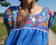 M blusa bordado mexicano azul hippy boho woodstock