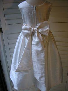 Ivory Silk Flowergirl Dress With Embellished Belt by monitageorge