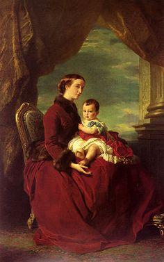 Eugenia, Emperatriz de Francia, portando a su hijo Eugenio Luis-Napoleón, por Francisco Javier Winterhalter.