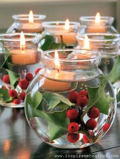 Christmas center piece- wonder if instead of holly, you could put a Betta fish in each one for a Summer gathering and send each guest home with one as a party favor???