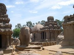 Pancha Rathas is an example of monolith Indian rock-cut architecture dating from the late 7th century, located at Mahabalipuram, a UNESCO World Heritage site and village 60 km south of the capital Chennai in the state of Tamil Nadu, India.